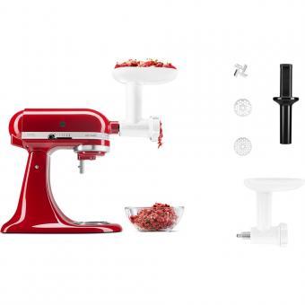 KITCHENAID Küchenmaschinen-Set ARTISAN 185 Empire Rot 300 Watt + Gemüseschneider oder Fleischwolf