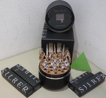 Robbe & Berking The Box Besteckset Riva 150g versilbert 24-teilig + Aufbewahrungsbox im Lautsprecher-Design