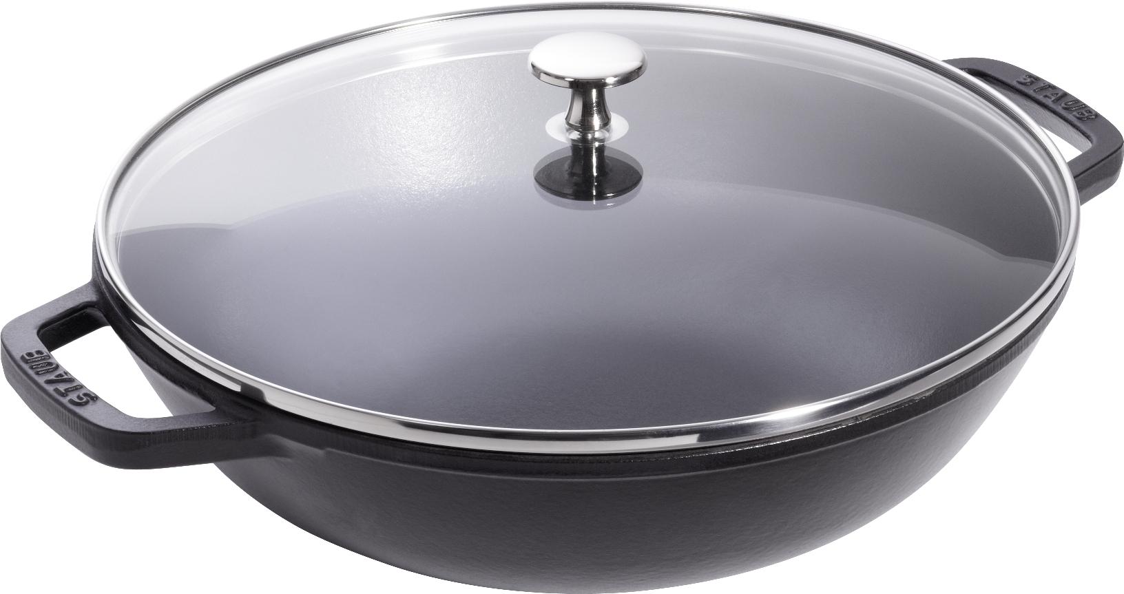 homann schenken kochen wohnen staub gusseisen wok schwarz 37 cm wokpfanne mit zubeh r induktion. Black Bedroom Furniture Sets. Home Design Ideas